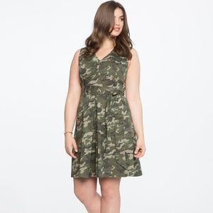 Eloquii Green Sleeveless Camouflage Dress 14
